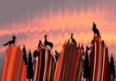 Die stilisierte Landschaft mit Tieren Stockfoto