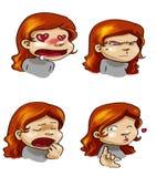 Die Stimmungen des Karikaturmädchens Stockfoto