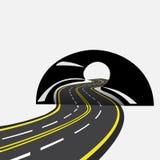Die Straße überschreitet in der Zukunft durch den Tunnel, Illustration Stockfotos