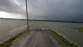 Die Straße in das Wasser stockfotos