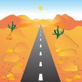 Die Straße, die Wüste durchläuft. Lizenzfreies Stockbild