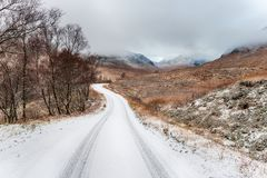 Die Straße durch Glen Etive lizenzfreie stockfotos