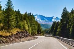 Die Straße, die durch Wald umgeben wird, führt zu die schneebedeckte Norden-Chuyastrecke der Altai-Berge, Sibirien, Russland stockbilder