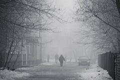 Die Straße einer Winterstadt in einem Nebel Lizenzfreie Stockfotos