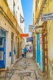 Die Straße von alten Schildern Stockfotos