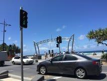 Die Straße vor dem Strand Stockbild