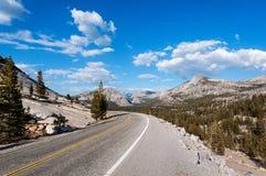 Die Straße in Yosemite-Park stockfotos