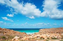 Die Straße zu Archer, der geschützte Sanddünebereich im Socotra, der Jemen Lizenzfreies Stockfoto