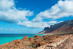Die Straße zu Archer, der geschützte Sanddünebereich im Socotra, der Jemen Stockfotografie