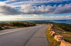 Die Straße zu Caddilac-Berg, im Acadia-Nationalpark, Maine Stockfotografie