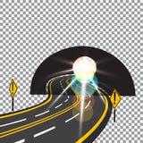 Die Straße zur Zukunft überschreitet durch den Tunnel Gefahr Helles Tageslicht Abbildung Lizenzfreies Stockfoto