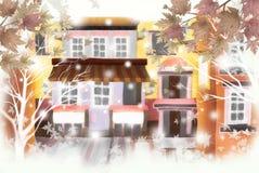 Die Straßen der schönen Herbstfarben - grafische Beschaffenheit von Malereitechniken, Aquarell Lizenzfreie Stockbilder