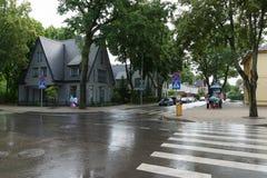 Die Straßen von Palanga-Stadt in Litauen lizenzfreie stockfotos