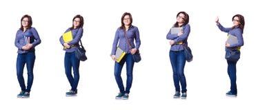 Die Studentin mit Büchern auf Weiß Stockfotos