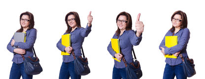 Die Studentin mit Büchern auf Weiß Lizenzfreies Stockfoto