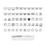 Die Symbole auf den Aufklebern der Kleidung, die, auspressend sich wäscht und trocknen und bügeln, dünne Linie Design Herkömmlich stock abbildung