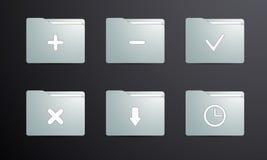 Die Symbolleiste der Ordner für das on-line-Einkaufen und die Programme Stockbild