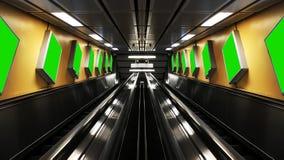 Die symmetrischen Rolltreppen mit Anschlagtafeln stockbild