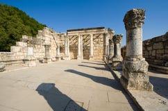 Die Synagoge von Capernaum Stockfotografie