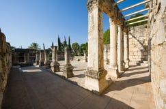 Die Synagoge von Capernaum Stockfotos