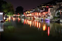 Die Szene der Nacht in alter Stadt Xitang, Zhejiang-Provinz, China Stockfotografie