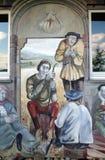 Die Szenen von Pilgern auf ihrer Weise zu Santiago de Compostela stockbild