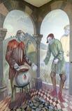 Die Szenen von Pilgern auf ihrer Weise zu Santiago de Compostela lizenzfreies stockfoto