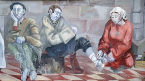 Die Szenen von Pilgern auf ihrer Weise zu Santiago de Compostela lizenzfreies stockbild