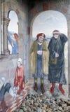 Die Szenen von Pilgern auf ihrer Weise zu Santiago de Compostela lizenzfreie stockbilder