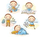 Die täglichen Tätigkeiten des kleinen Jungen stock abbildung