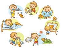 Die täglichen Tätigkeiten des kleinen Jungen lizenzfreie abbildung