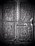 Die Tür des alten Zugblockwagens Stockfotos