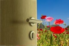 Die Tür offen zum Mohnblumenfeld auf blauem Himmel Stockfotos