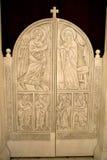 Die Türen des Altars einer orthodoxen Kirche Stockbild