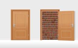 Die Türen schlossen offenes ummauert herauf Backsteinmauer vektor abbildung