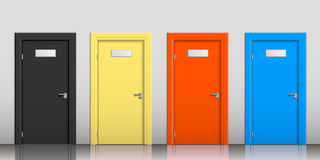 Die Türen von verschiedenen Farben Stockbild