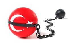 Die Türkei band an einem Klotz am Bein Stockbild