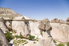 Die Türkei, Cappadocia Exotischer Felsen des Pashabag-Tales (Tal der Mönche) Stockfotos