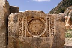 Die Türkei, Demre Grundsteine geschnitzt mit Bild Lizenzfreies Stockbild