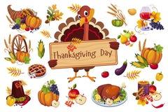 Die Türkei für den Danksagungstag hölzernes Schild, traditionelle Symbole halten von Herbstferienvektor Illustration auf a lizenzfreie abbildung