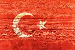 Die Türkei-Flagge gemalt auf einer Backsteinmauer Abbildung 3D Stockbilder