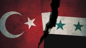 Die Türkei gegen Flaggen Syriens Zypern auf gebrochener Wand Stockbild