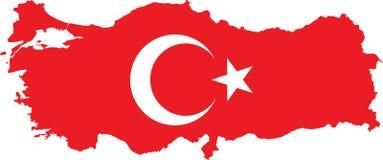 Die Türkei-Karte mit türkischer Markierungsfahne Stockbild