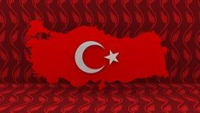 Die Türkei-Karte Türkisches Flaggen-Zeichen Die Türkei-Land-Karten-Zeichen Stockbilder