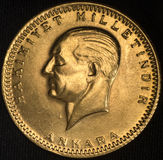 Die Türkei Kurush Ataturk Gold Coin Lizenzfreies Stockfoto
