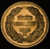 Die Türkei Kurush Ataturk Gold Coin Lizenzfreies Stockbild