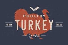 Die Türkei Logo mit Truthahnschattenbild, Text Geflügel, die Türkei vektor abbildung