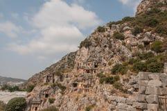 Die Türkei, Myrrhe, Lycian-Beerdigung im Berg Stockfotos