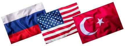 Die Türkei Russland und USA-Flaggen lokalisiert auf Weiß Collage von Weltflaggen Lizenzfreies Stockbild