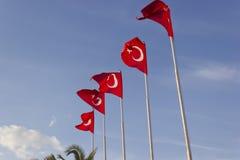 Die Türkischeflaggen, die ausgesendet werden, schwanken Lizenzfreies Stockfoto